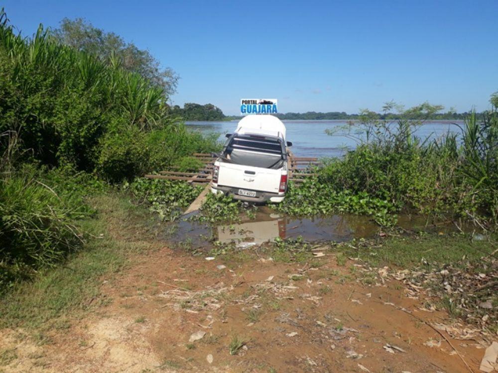 Caminhonete apreendida pela PM na fronteira do Brasil com a Bolívia – Foto: Flaviano Sales / Portal Guajará