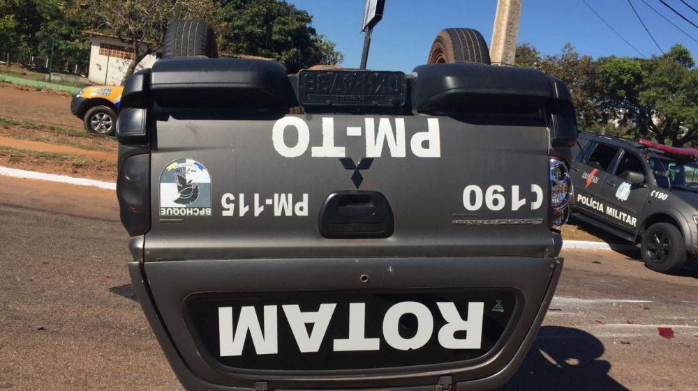 Os policiais que estavam na caminhonete tiveram escoriações pelo corpo – Foto: Reprodução/Agência Tocantins
