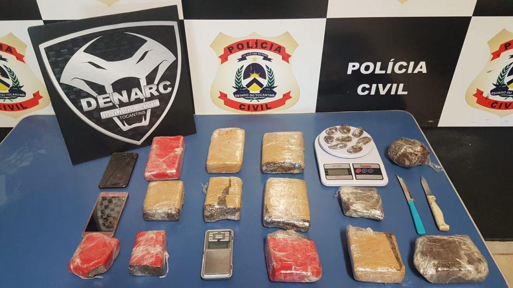 Vários quilos de drogas são apreendidas pela Polícia Civil em Palmas – Foto: Divulgação/DENARC