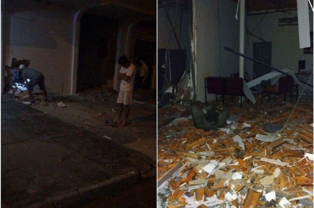 Agência bancária ficou destruída — Foto: Divulgação