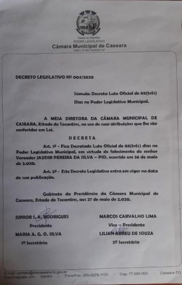 Decreto do Poder Legislativo determinou 03 dias de luto no parlamento de Caseara - TO - Foto: Câmara de Caseara - TO