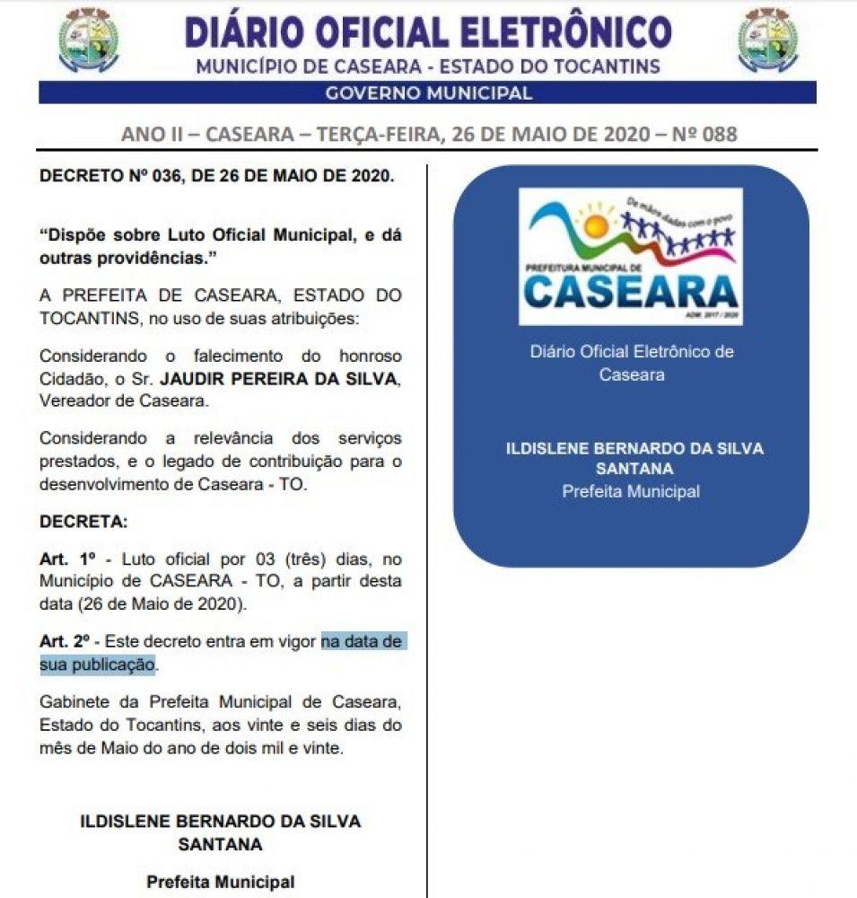 Prefeita Ildislene Santana (DEM) decretou 3 dias de luto oficial no município - Foto: Reprodução