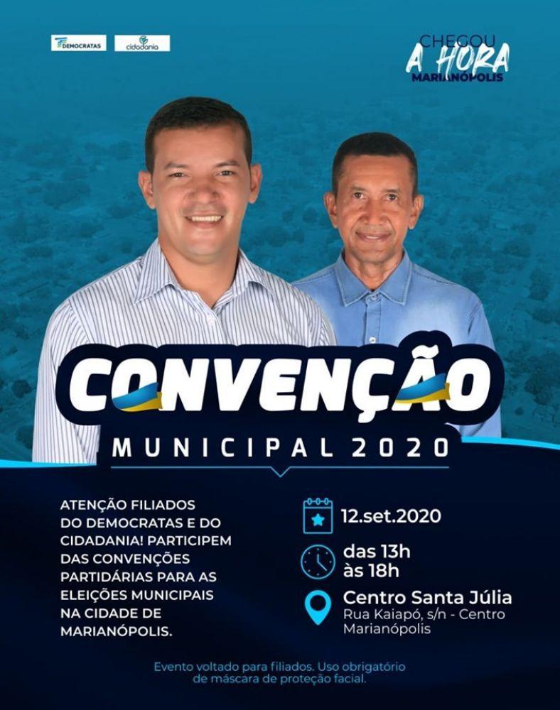 Anuncio da convenção do grupo governista de Marianópolis - TO - Foto: Divulgação