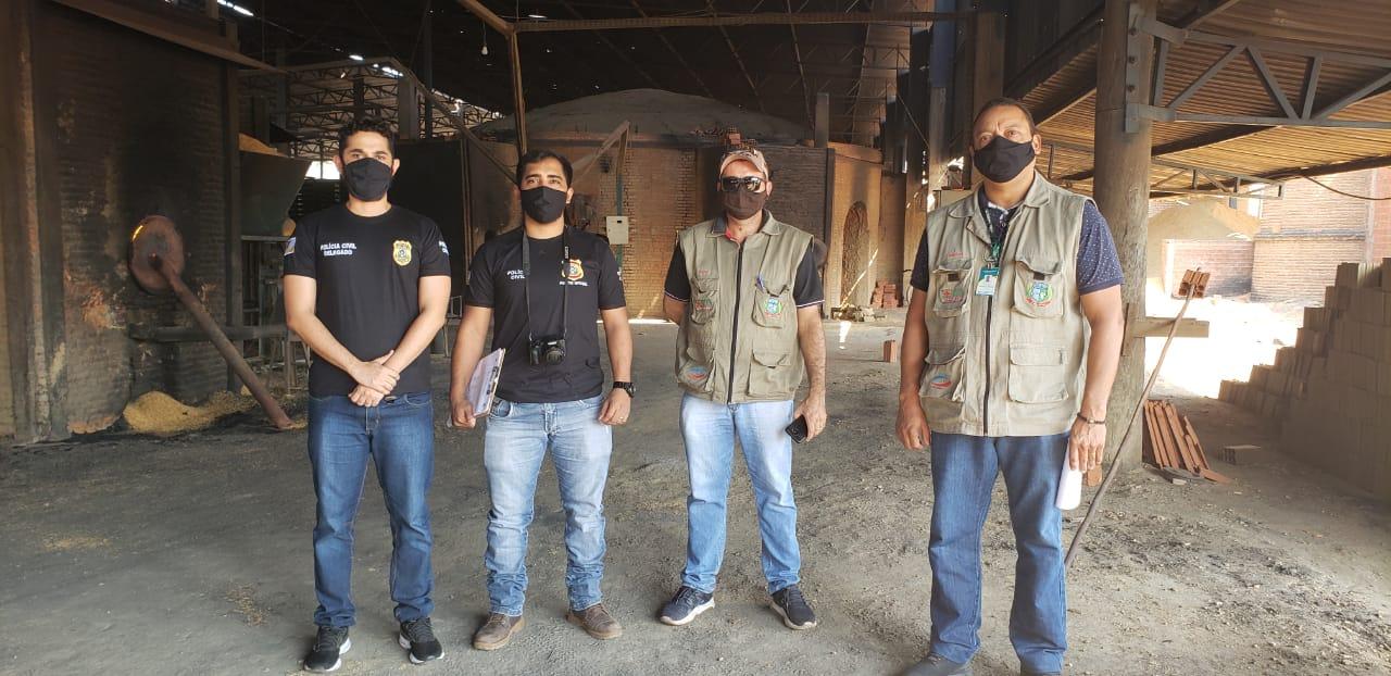 Equipe da 63ª DP durante incineração de drogas em Paraíso - Foto: Divulgação/SSPTO
