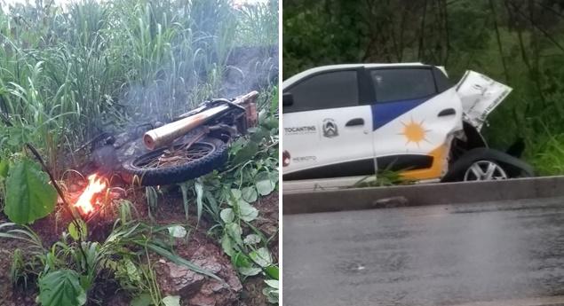 Acidente foi na BR-153 perto de Rio dos Bois — Foto: Divulgação/Agência Tocantins