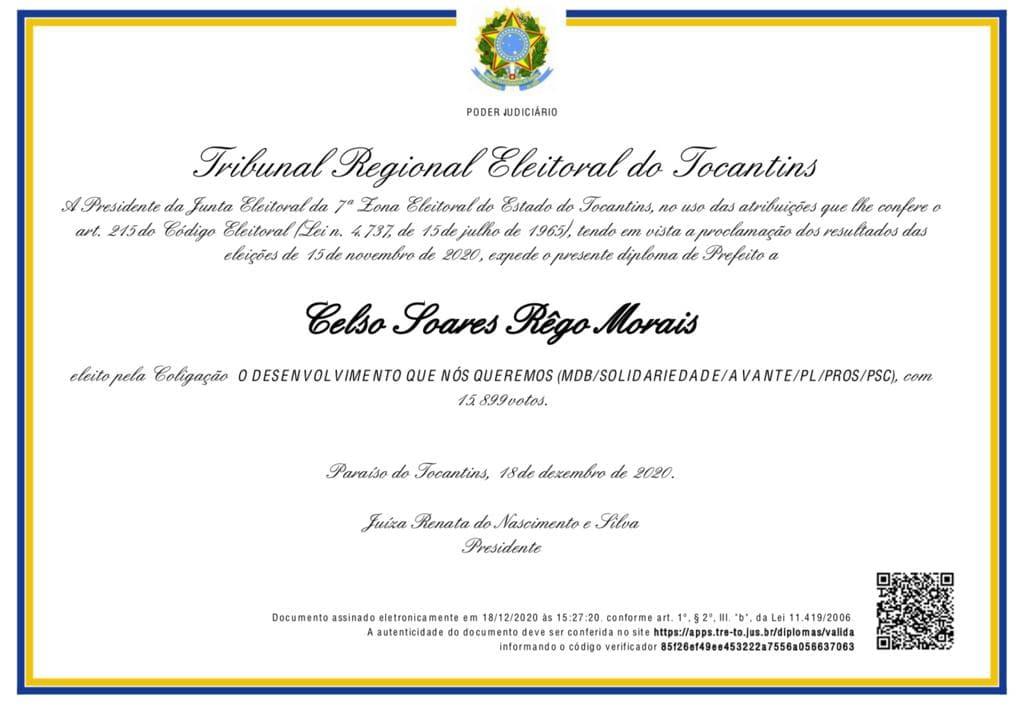 Diploma do Prefeito eleito de Paraíso do Tocantins - Foto: Divulgação