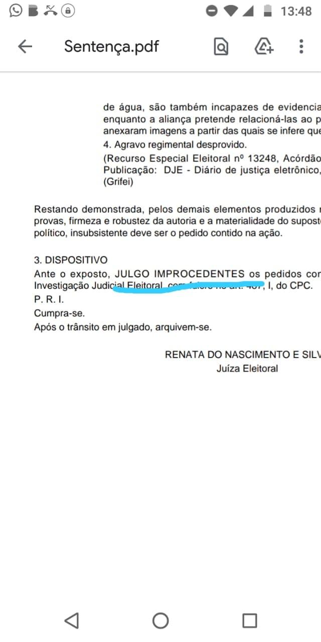 Representante da corte eleitoral Renata Nascimento julgou improcedente o pedido de afastamento do inquilino do Executivo de Marianópolis - TO