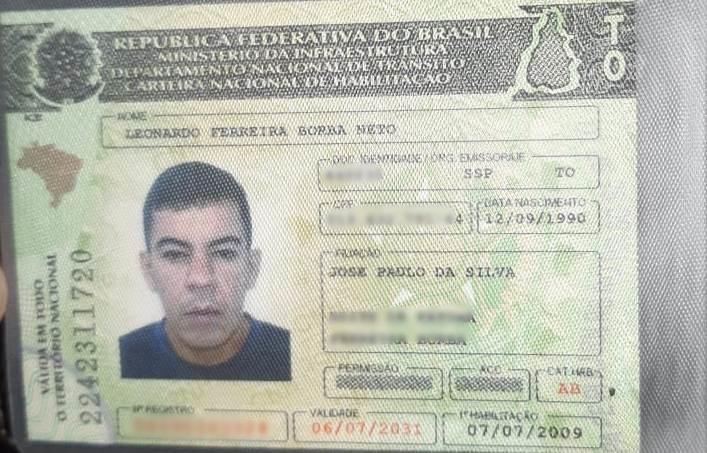 Carteira Nacional de Habilitação - CNH da vítima - Foto: Reprodução/Agência Tocantins