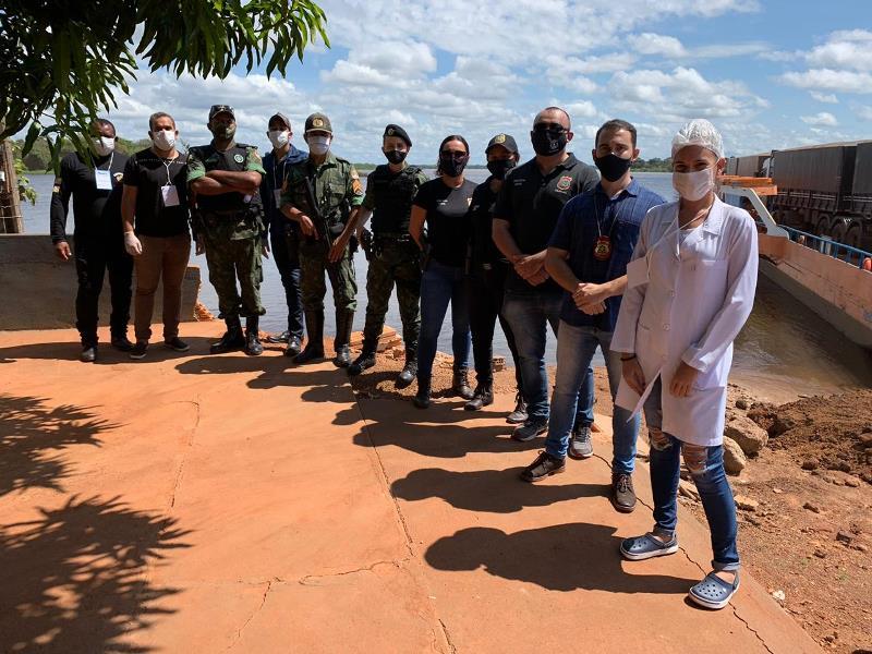 Polícias Civil e Militar do Tocantins integram ação conjunta de implantação de barreiras sanitárias em Caseara - Foto: Divulgação/SSPTO